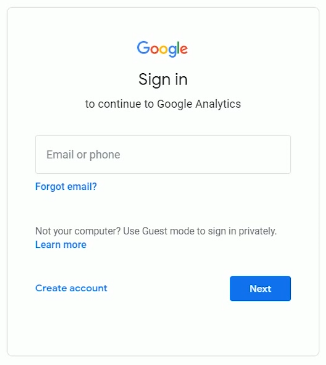 Sign in to your Google Analytics