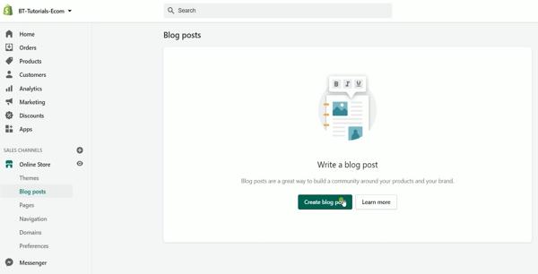 click the Create Blog Post button