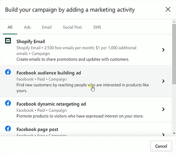 Facebook audience-building ad
